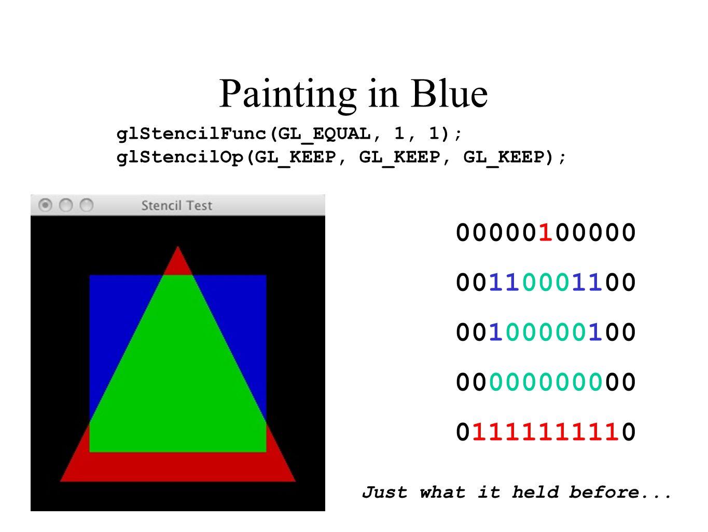Painting in Blue 00000100000 00110001100 00100000100 00000000000 01111111110 glStencilFunc(GL_EQUAL, 1, 1); glStencilOp(GL_KEEP, GL_KEEP, GL_KEEP); Ju
