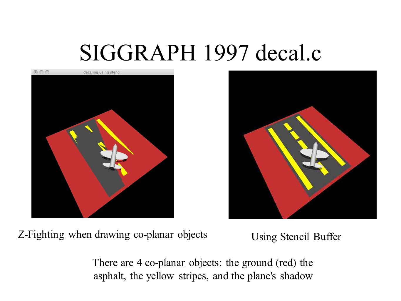 SIGGRAPH 1997 decal.c Z-Fighting when drawing co-planar objects Using Stencil Buffer There are 4 co-planar objects: the ground (red) the asphalt, the