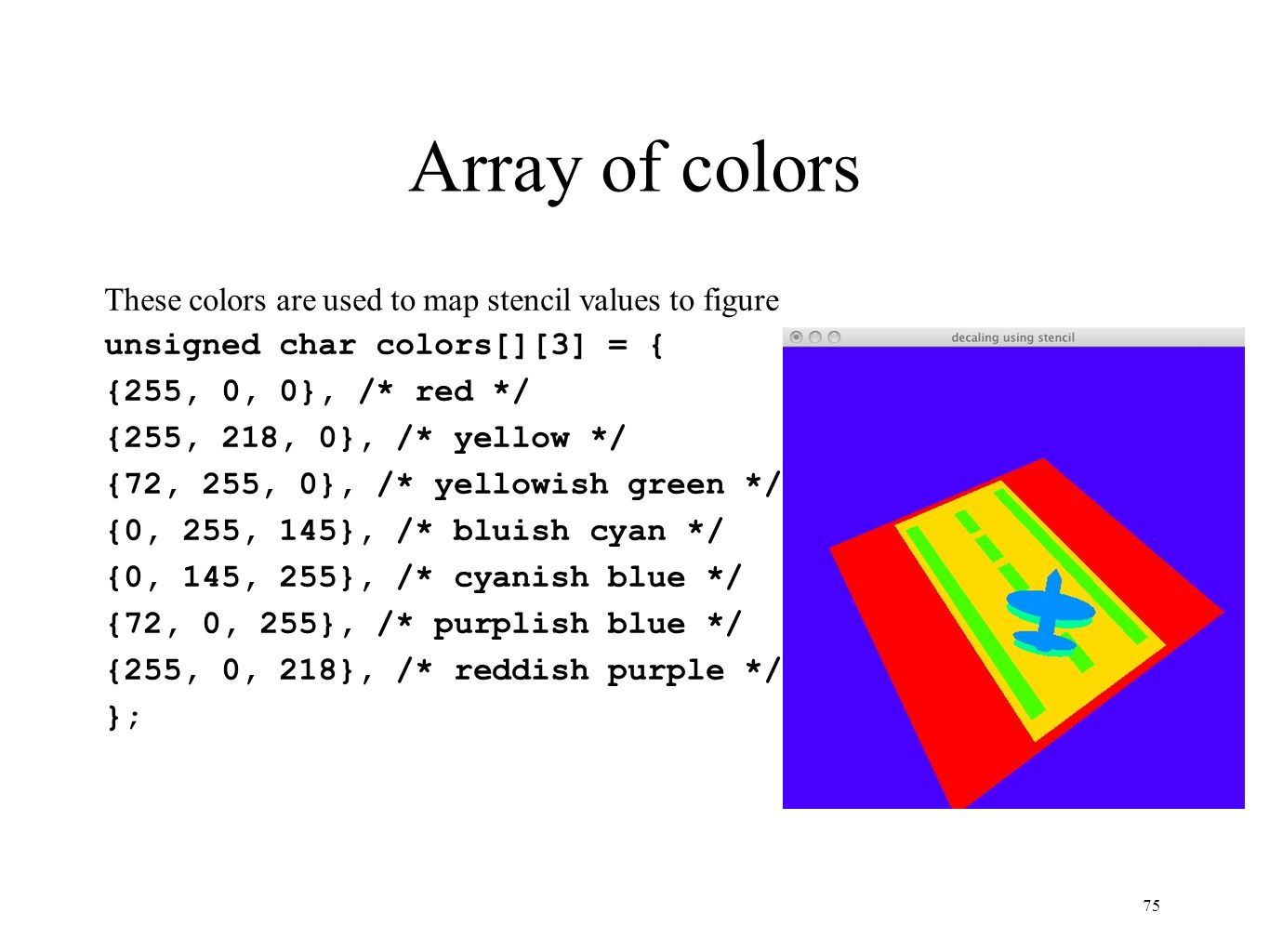 Array of colors These colors are used to map stencil values to figure unsigned char colors[][3] = { {255, 0, 0}, /* red */ {255, 218, 0}, /* yellow */
