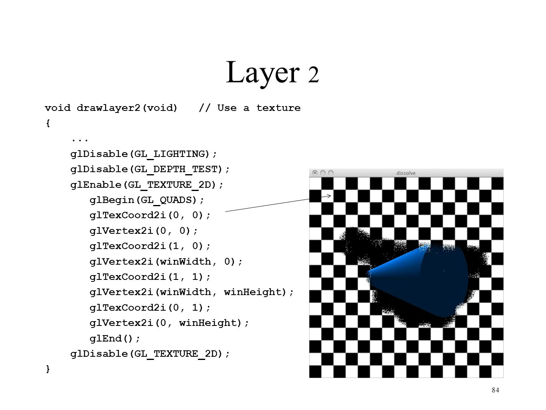 Layer 2 void drawlayer2(void)// Use a texture {... glDisable(GL_LIGHTING); glDisable(GL_DEPTH_TEST); glEnable(GL_TEXTURE_2D); glBegin(GL_QUADS); glTex