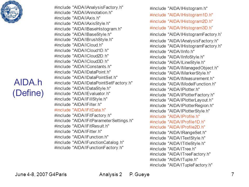 June 4-8, 2007 G4ParisAnalysis 2 P.