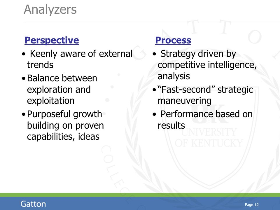 Page 12 Analyzers Perspective Keenly aware of external trends Balance between exploration and exploitation Purposeful growth building on proven capabilities, ideas Process Strategy driven by competitive intelligence, analysis Fast-second strategic maneuvering Performance based on results