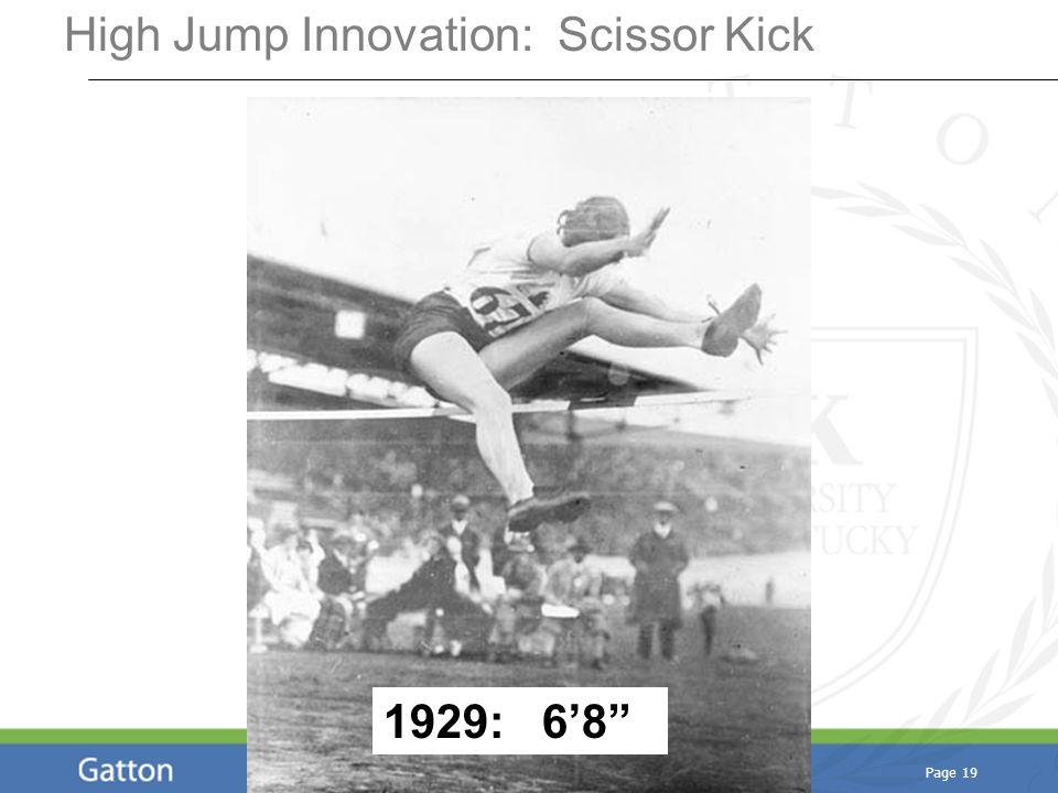 Page 19 High Jump Innovation: Scissor Kick 1929: 6'8