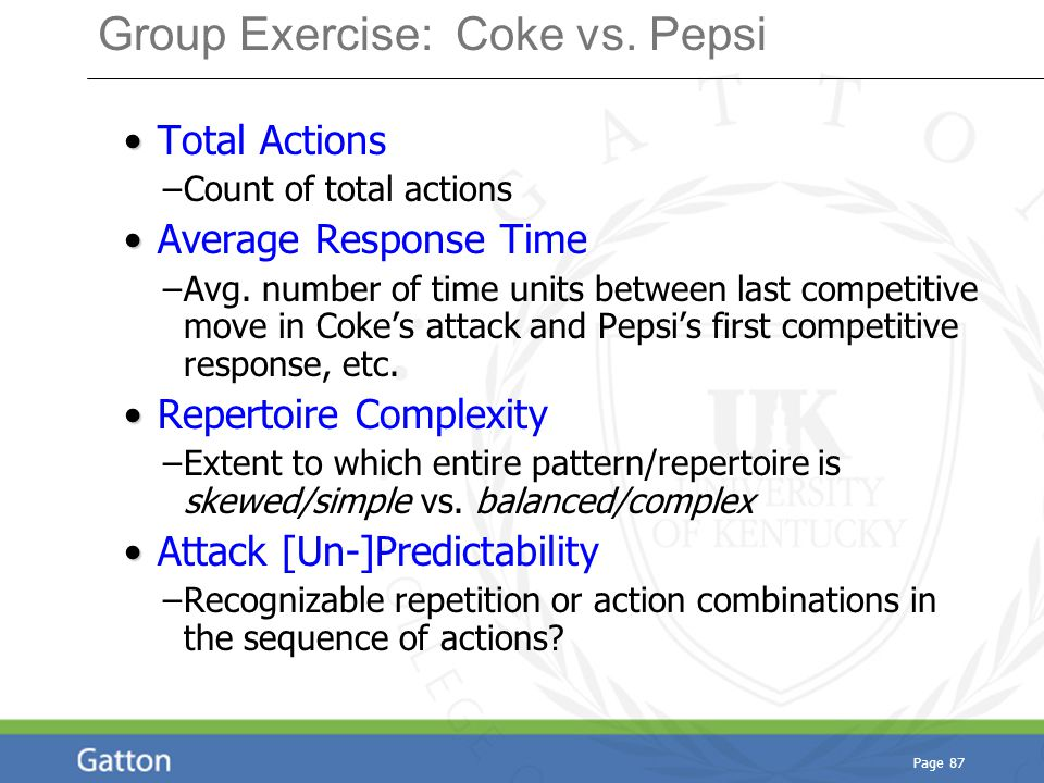 Page 87 Group Exercise: Coke vs. Pepsi Total Actions –Count of total actions Average Response Time –Avg. number of time units between last competitive
