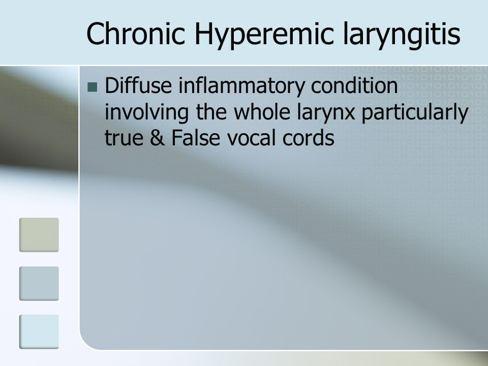 Tuberculous laryngitis Secondary to Pulmonary tuberculosis Common in adult males Brochogenic / hematogenous route Bronchogenic route  affects posterior larynx --- Interarytnoid region, submucosal tubercles & granuloma Hematogenous  Multiple painful ulcers in larynx & pharynx