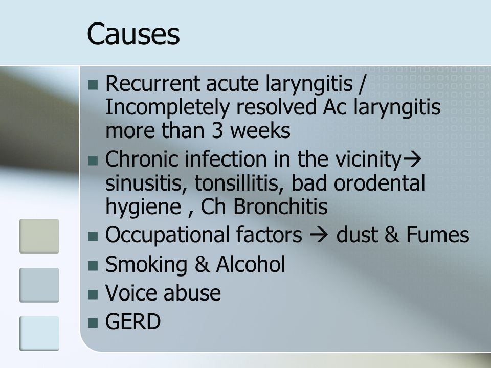 Clinical features Hoarseness Painful ulcers / referred otalgia Odynophagia Laryngoscopy  Pale granulations in the interarytnoid region