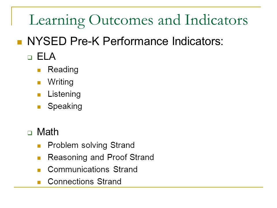 Learning Outcomes and Indicators NYSED Pre-K Performance Indicators:  ELA Reading Writing Listening Speaking  Math Problem solving Strand Reasoning