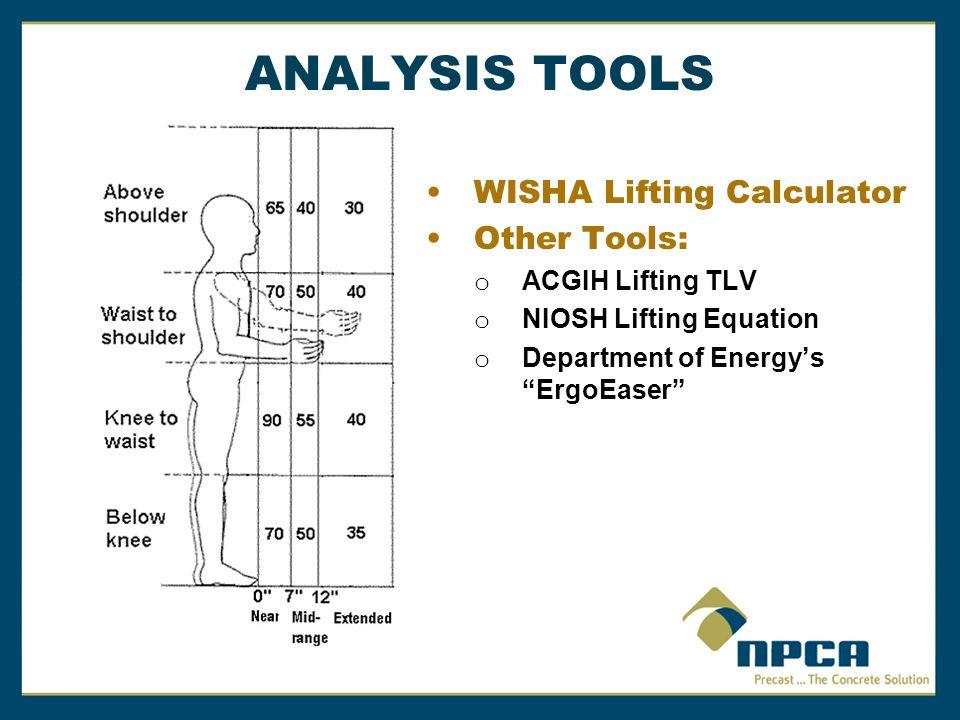 ANALYSIS TOOLS WISHA Lifting Calculator Other Tools: o ACGIH Lifting TLV o NIOSH Lifting Equation o Department of Energy's ErgoEaser