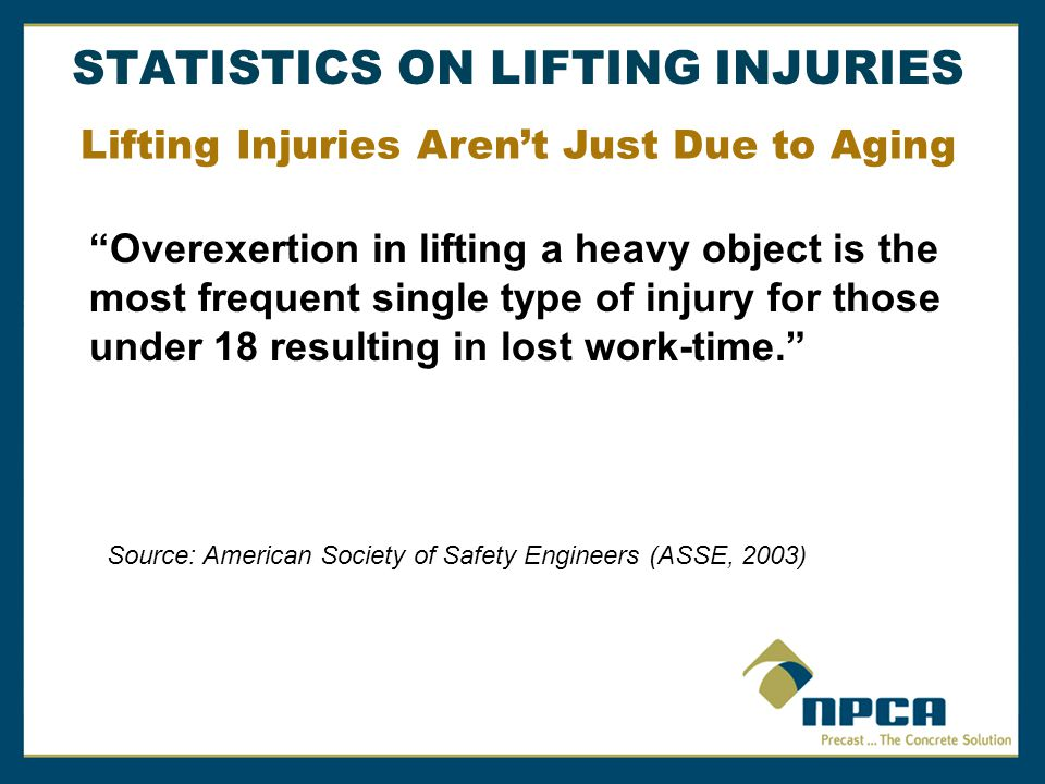 Source: American Society of Safety Engineers (ASSE, 2003) Lifting Injuries Aren't Just Due to Aging Overexertion in lifting a heavy object is the most frequent single type of injury for those under 18 resulting in lost work-time. STATISTICS ON LIFTING INJURIES