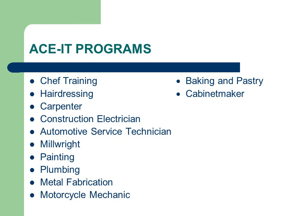 ACE-IT PROGRAMS Chef Training  Baking and Pastry Hairdressing  Cabinetmaker Carpenter Construction Electrician Automotive Service Technician Millwri