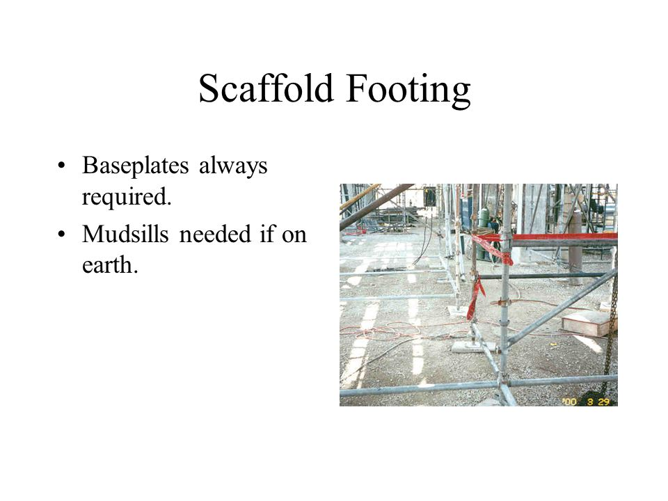 Scaffold Footing Baseplates always required. Mudsills needed if on earth.