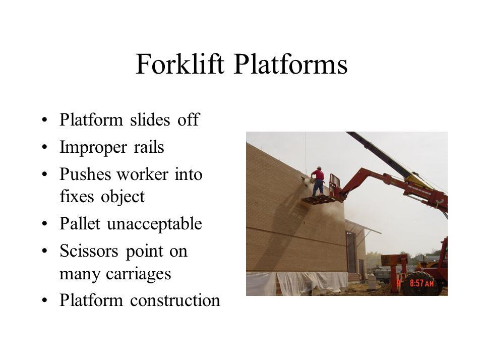 Forklift Platforms Platform slides off Improper rails Pushes worker into fixes object Pallet unacceptable Scissors point on many carriages Platform construction