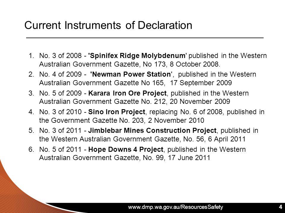 www.dmp.wa.gov.au/ResourcesSafety 4 1.No. 3 of 2008 - 'Spinifex Ridge Molybdenum' published in the Western Australian Government Gazette, No 173, 8 Oc