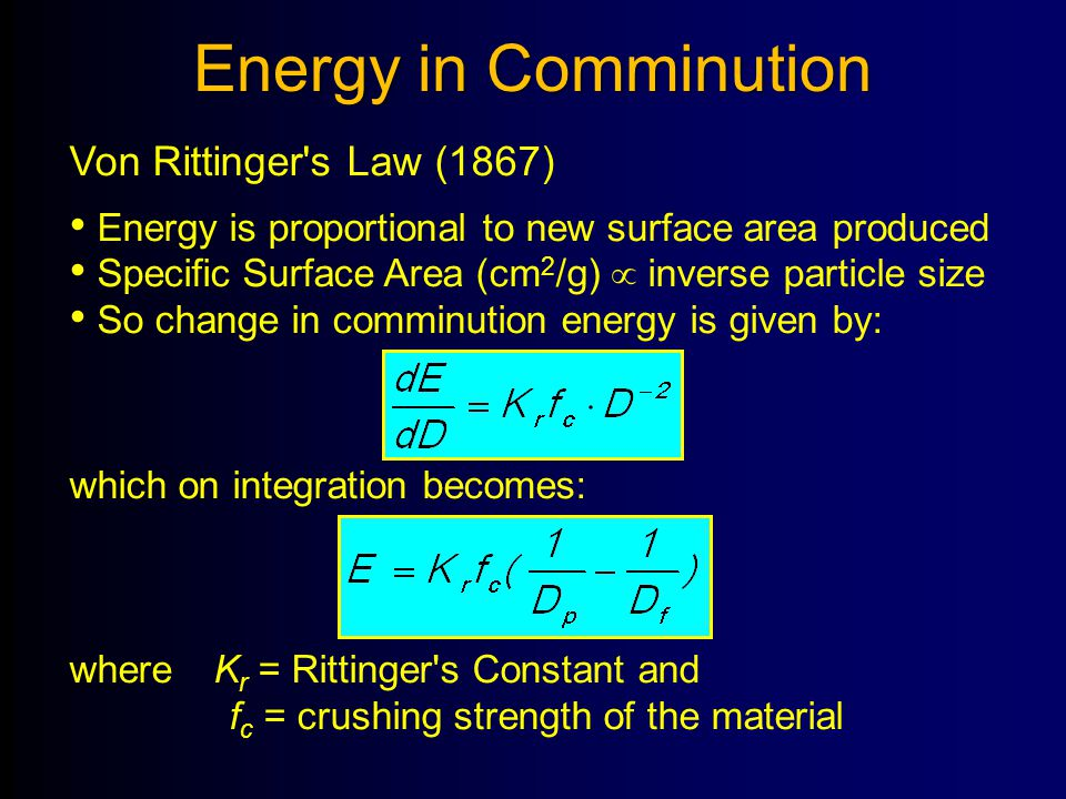 Energy in Comminution Von Rittinger's Law (1867) Energy is proportional to new surface area produced Specific Surface Area (cm 2 /g)  inverse particl