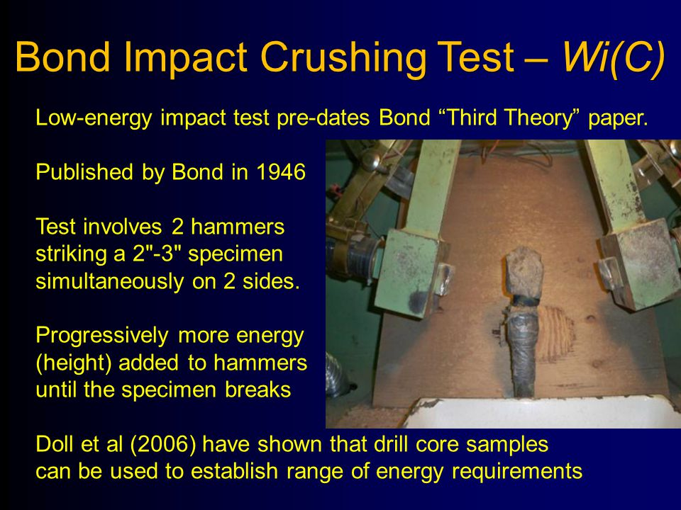 """Bond Impact Crushing Test – Wi(C) Low-energy impact test pre-dates Bond """"Third Theory"""" paper. Published by Bond in 1946 Test involves 2 hammers striki"""