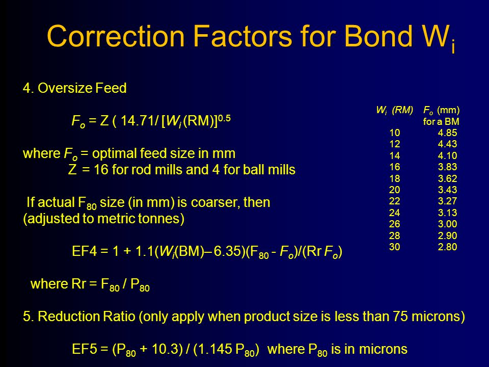 4. Oversize Feed F o = Z ( 14.71/ [W i (RM)] 0.5 where F o = optimal feed size in mm Z = 16 for rod mills and 4 for ball mills If actual F 80 size (in