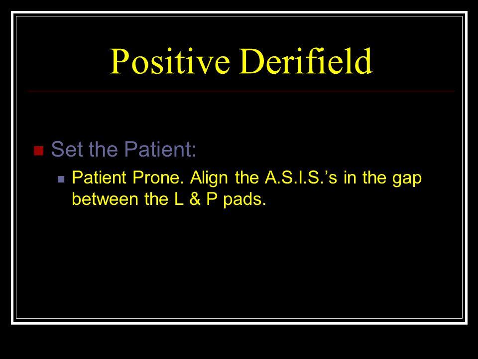 Positive Derifield Set the Patient: Patient Prone.