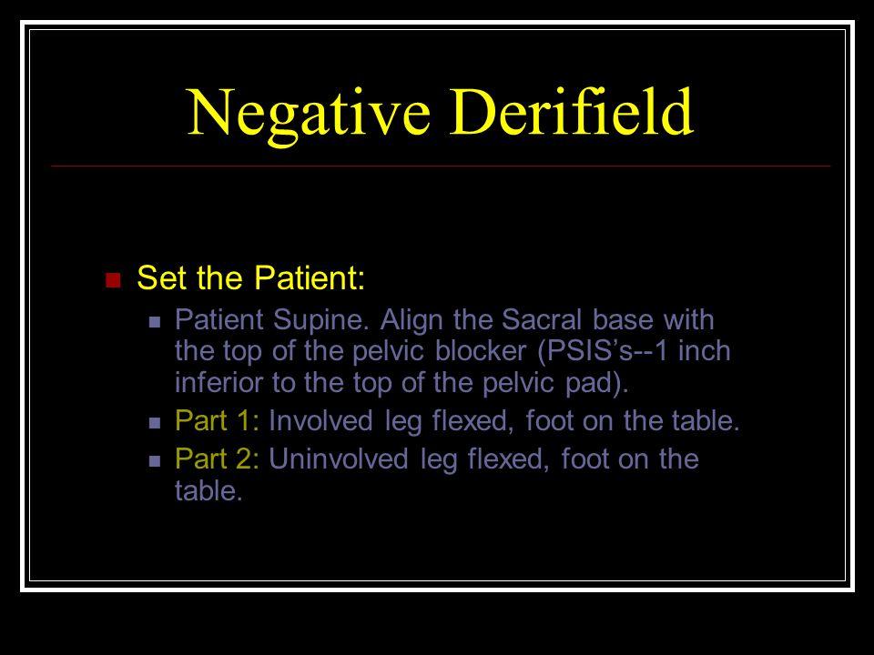 Negative Derifield Set the Patient: Patient Supine.