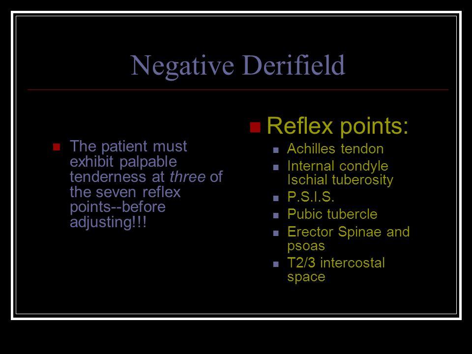 Negative Derifield Reflex points: Achilles tendon Internal condyle Ischial tuberosity P.S.I.S.