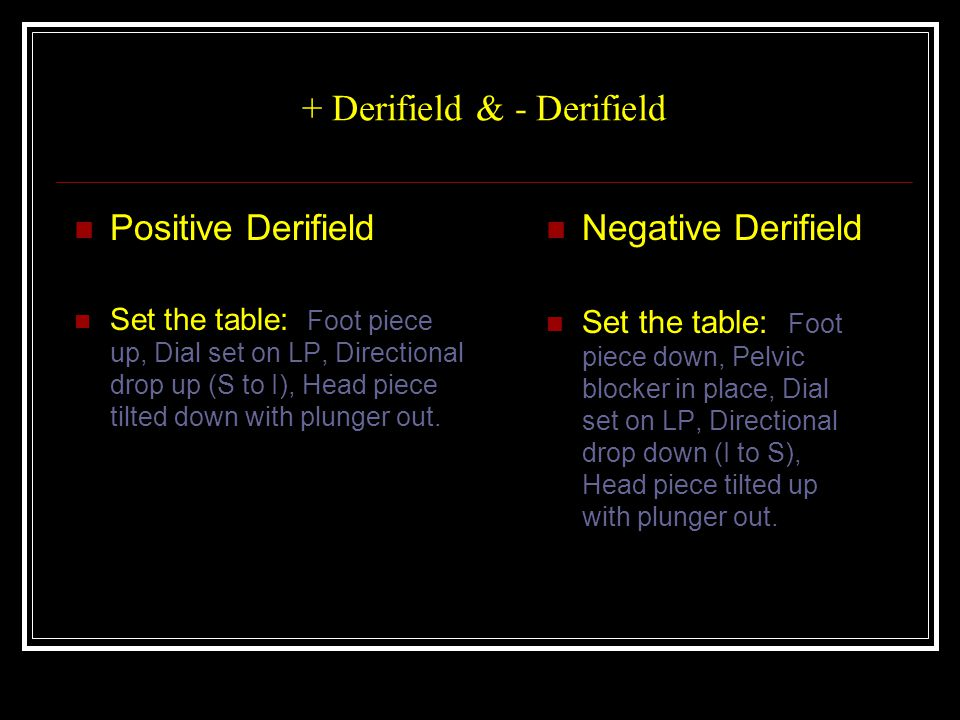 + Derifield & - Derifield Positive Derifield Set the table: Foot piece up, Dial set on LP, Directional drop up (S to I), Head piece tilted down with plunger out.