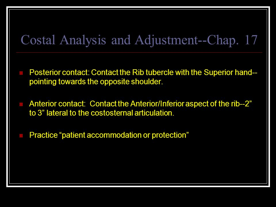Costal Analysis and Adjustment--Chap.