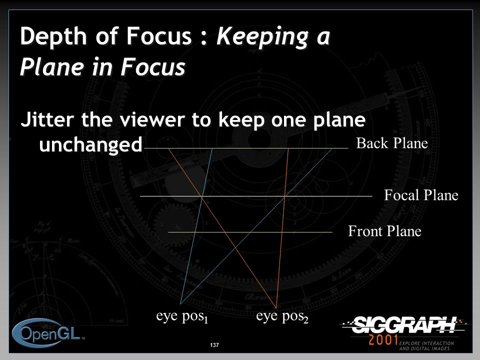 137 Depth of Focus : Keeping a Plane in Focus Jitter the viewer to keep one plane unchanged Front Plane Back Plane Focal Plane eye pos 1 eye pos 2