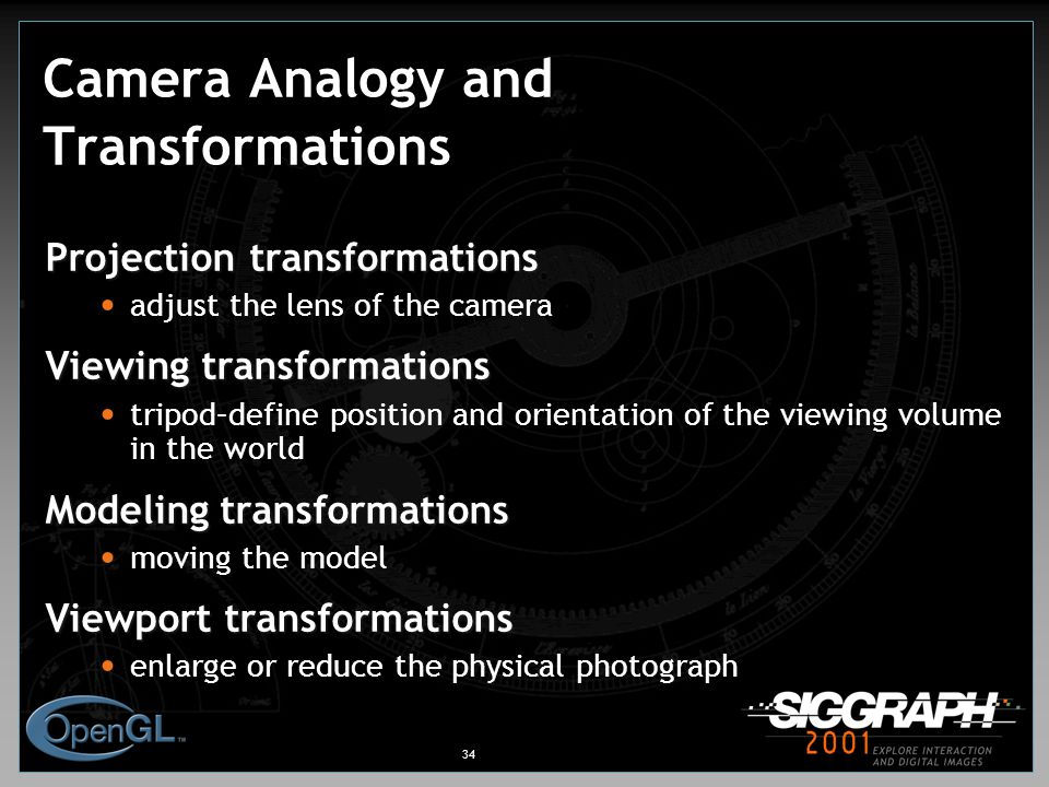 34 Camera Analogy and Transformations Projection transformations adjust the lens of the camera Viewing transformations tripod–define position and orientation of the viewing volume in the world Modeling transformations moving the model Viewport transformations enlarge or reduce the physical photograph