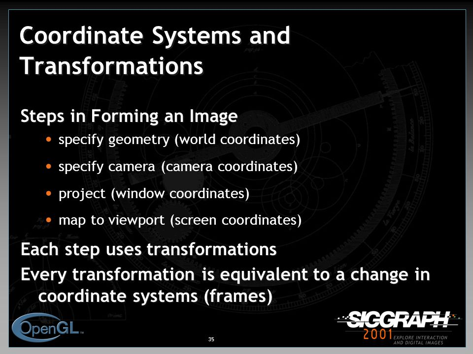 35 Coordinate Systems and Transformations Steps in Forming an Image specify geometry (world coordinates) specify camera (camera coordinates) project (window coordinates) map to viewport (screen coordinates) Each step uses transformations Every transformation is equivalent to a change in coordinate systems (frames)