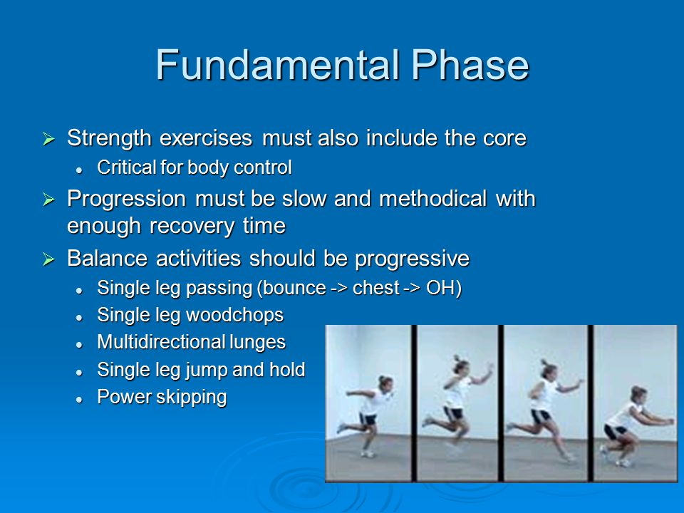 Fundamental Phase  Strength exercises must also include the core Critical for body control Critical for body control  Progression must be slow and m