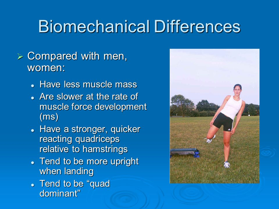 Biomechanical Differences  Compared with men, women: Have less muscle mass Have less muscle mass Are slower at the rate of muscle force development (