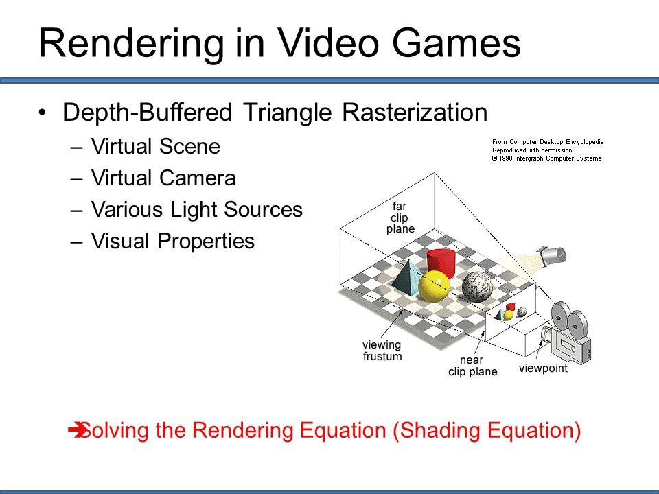 Rendering in OGRE3D Depth-Buffered Triangle Rasterization –Virtual Scene  createScene() –Virtual Camera  createCamera()/ createViewport() –Various Light Sources  createScene() –Visual Properties  material  Solving the Rendering Equation (OGRE3D engine)