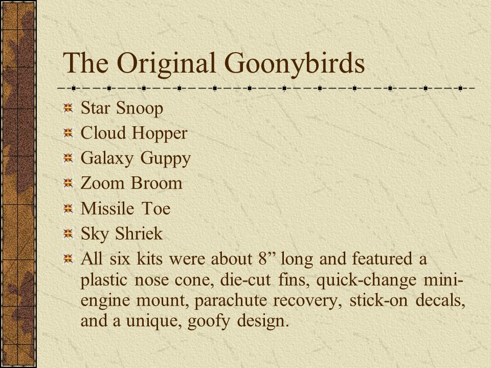 "The Original Goonybirds Star Snoop Cloud Hopper Galaxy Guppy Zoom Broom Missile Toe Sky Shriek All six kits were about 8"" long and featured a plastic"