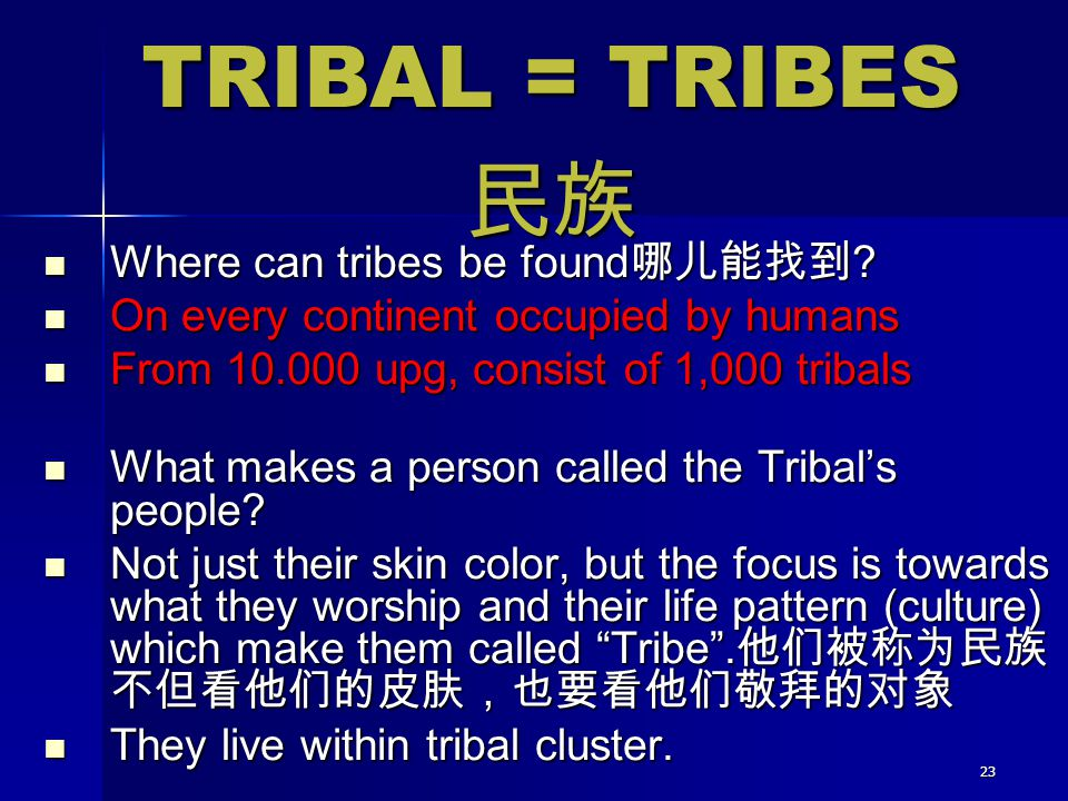 23 Where can tribes be found 哪儿能找到 ? Where can tribes be found 哪儿能找到 ? On every continent occupied by humans On every continent occupied by humans Fro