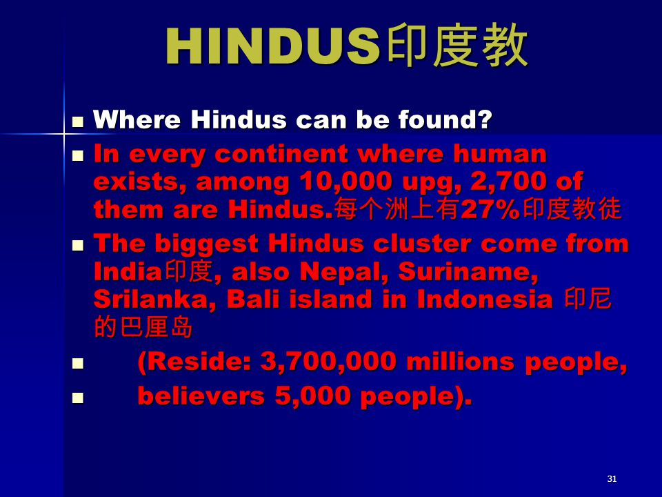 31 Where Hindus can be found? Where Hindus can be found? In every continent where human exists, among 10,000 upg, 2,700 of them are Hindus. 每个洲上有 27%