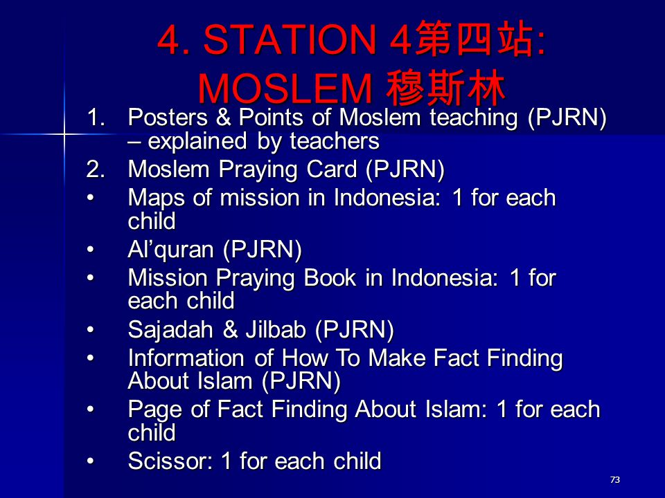 73 4. STATION 4 第四站 : MOSLEM 穆斯林 1.Posters & Points of Moslem teaching (PJRN) – explained by teachers 2.Moslem Praying Card (PJRN) Maps of mission in