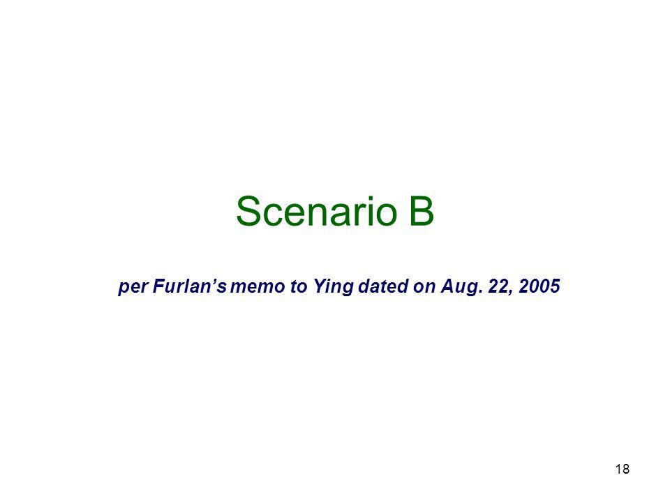 18 Scenario B per Furlan's memo to Ying dated on Aug. 22, 2005