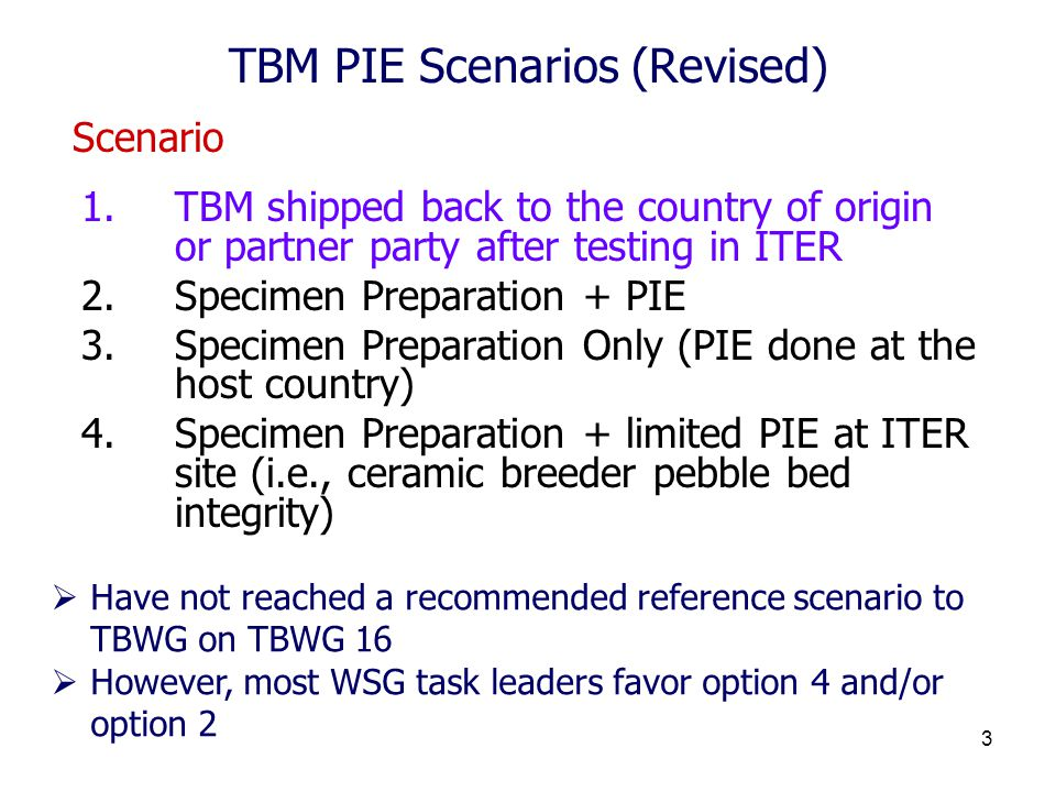 3 TBM PIE Scenarios (Revised) 1.TBM shipped back to the country of origin or partner party after testing in ITER 2.Specimen Preparation + PIE 3.Specimen Preparation Only (PIE done at the host country) 4.Specimen Preparation + limited PIE at ITER site (i.e., ceramic breeder pebble bed integrity)  Have not reached a recommended reference scenario to TBWG on TBWG 16  However, most WSG task leaders favor option 4 and/or option 2 Scenario