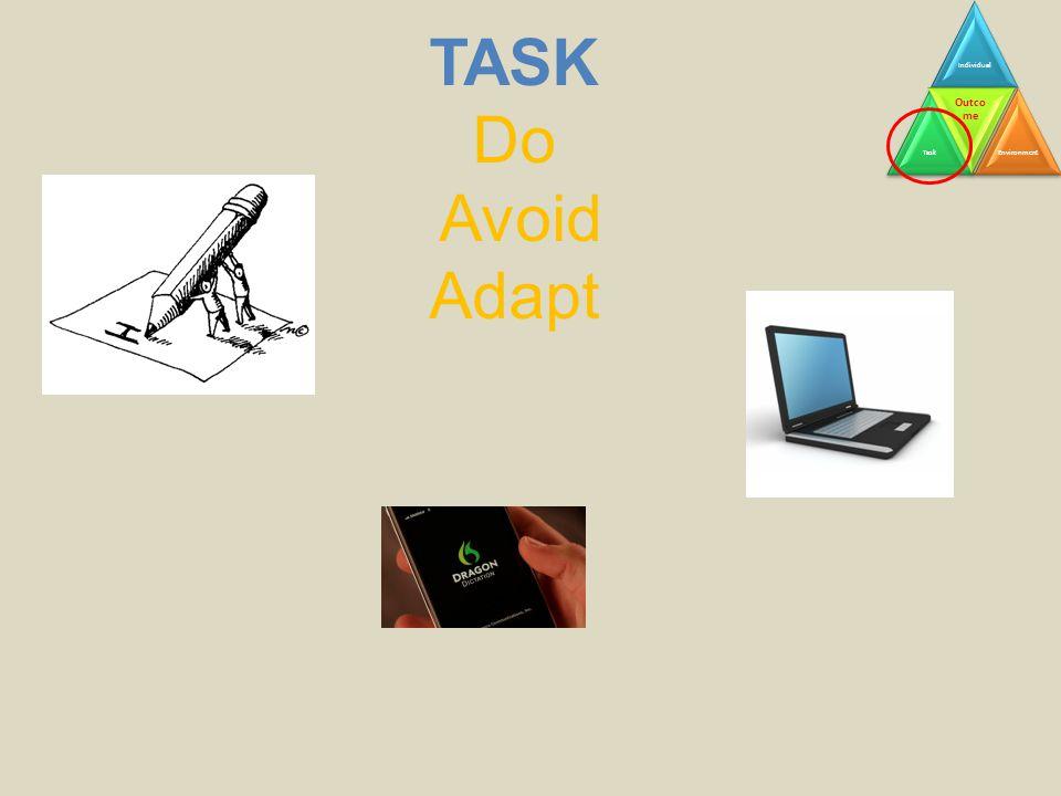 TASK Do Avoid Adapt IndividualTask Outco me Environment