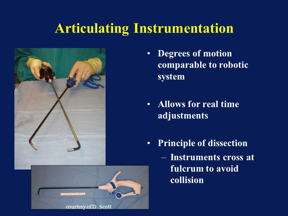 Articulating Instrumentation Degrees of motion comparable to robotic system Allows for real time adjustments Principle of dissection –Instruments cros