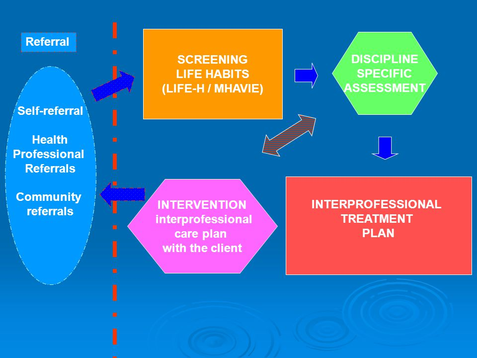 Referral Self-referral Health Professional Referrals Community referrals SCREENING LIFE HABITS (LIFE-H / MHAVIE) DISCIPLINE SPECIFIC ASSESSMENT INTERP