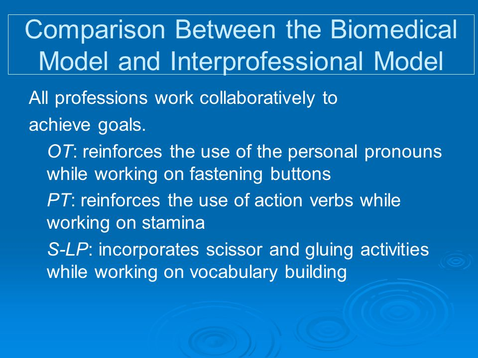 Comparison Between the Biomedical Model and Interprofessional Model All professions work collaboratively to achieve goals. OT: reinforces the use of t