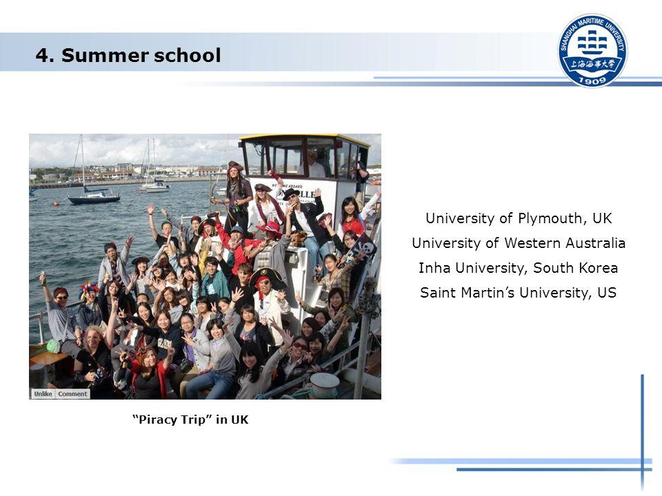 "4. Summer school University of Plymouth, UK University of Western Australia Inha University, South Korea Saint Martin's University, US ""Piracy Trip"" i"