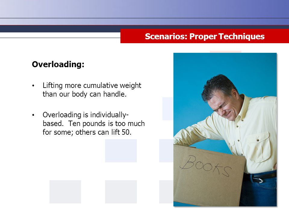 Scenarios: Proper Techniques Overloading: Lifting more cumulative weight than our body can handle. Overloading is individually- based. Ten pounds is t