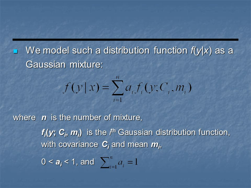 wheren is the number of mixture, f i (y; C i, m i ) is the i th Gaussian distribution function, with covariance C i and mean m i, 0 < a i < 1, and We