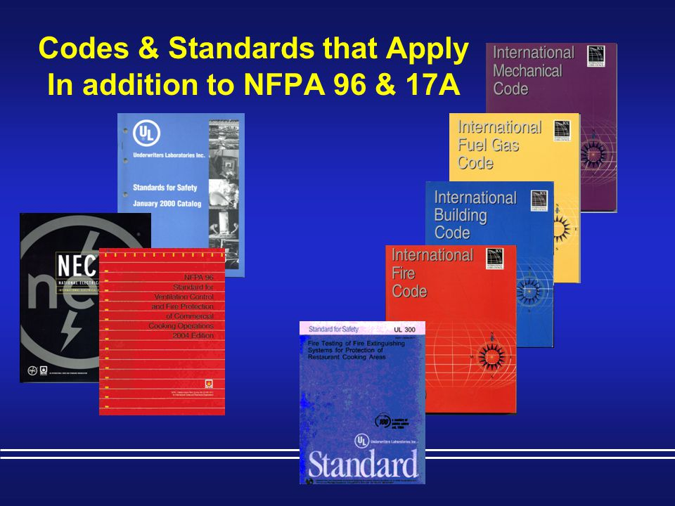 NFPA 96 – Standard for Ventilation Control & Fire Protection of Commercial Cooking Operations  Automatic fire extinguishing systems shall be installed in accordance with the terms of the listing, the manufacturer s instructions, and the following standards where applicable.