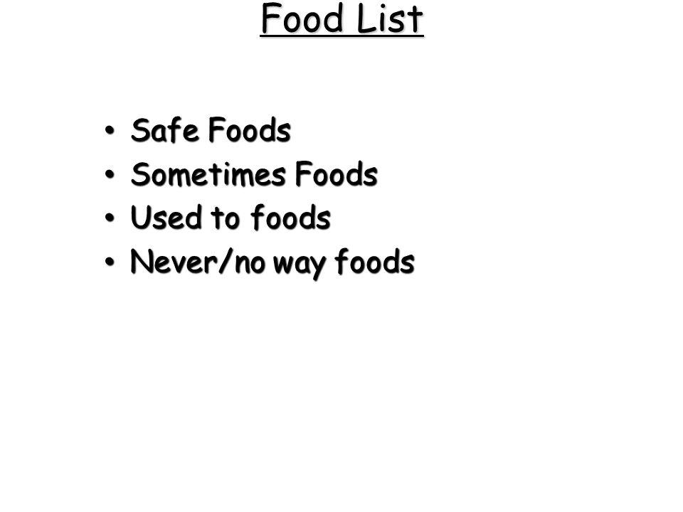 Food List Safe Foods Safe Foods Sometimes Foods Sometimes Foods Used to foods Used to foods Never/no way foods Never/no way foods