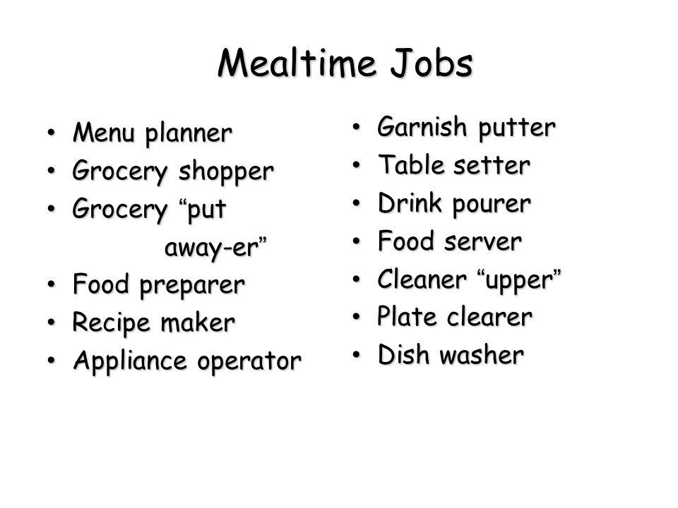 """Mealtime Jobs Menu planner Menu planner Grocery shopper Grocery shopper Grocery """"put Grocery """"put away-er"""" away-er"""" Food preparer Food preparer Recipe"""