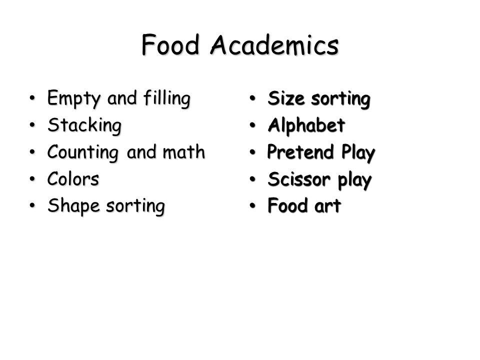 Food Academics Empty and filling Empty and filling Stacking Stacking Counting and math Counting and math Colors Colors Shape sorting Shape sorting Siz