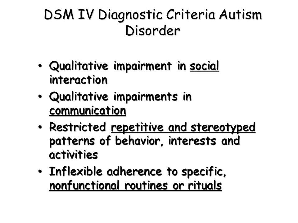 DSM IV Diagnostic Criteria Autism Disorder Qualitative impairment in social interaction Qualitative impairment in social interaction Qualitative impai