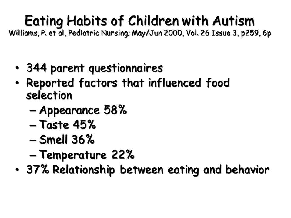 Eating Habits of Children with Autism Williams, P. et al, Pediatric Nursing; May/Jun 2000, Vol. 26 Issue 3, p259, 6p 344 parent questionnaires 344 par